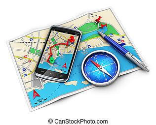 viaje turismo, cocnept, gps, navegación