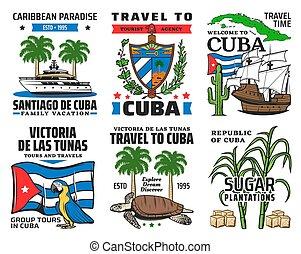viaje, vacaciones caribes, cuba, iconos, turista