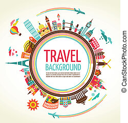 viaje, vector, turismo, plano de fondo