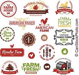 Viaje y etiquetas de granja modernas