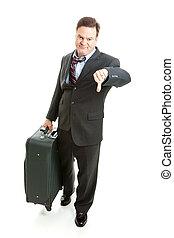 Viajero de negocios, infeliz