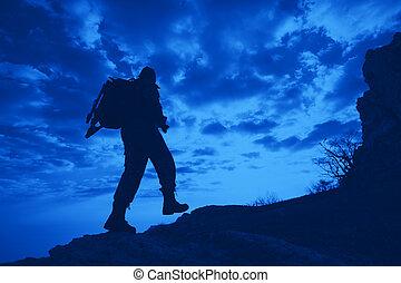 viajero, fondo, silueta, vista, macho