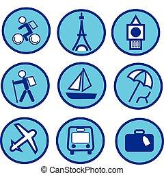 Viajes azules y el icono del turismo
