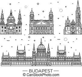 Viajes húngaros de edificios históricos con iconos finos