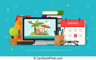 Viajes o viajes planificando ilustraciones de vectores en línea, escritorio de caricatura plana y resort en pantalla de ordenador y equipaje de turista y fecha de calendario, vocación o horario de vacaciones a través de Internet
