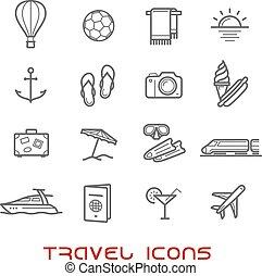 Viajes y iconos de línea delgada