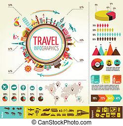Viajes y turismo con iconos de datos, elementos