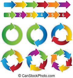 vibrante, círculo, conjunto, diagramas