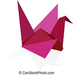 vibrante, colores, cisne, origami