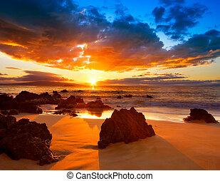 vibrante, dramático, ocaso, hawai