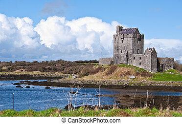 vibrante, irlandés, castillo, irlanda, oeste