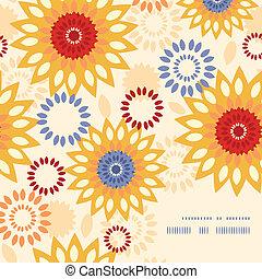 vibrante, resumen, tibio, pauta fondo, floral, esquina, marco