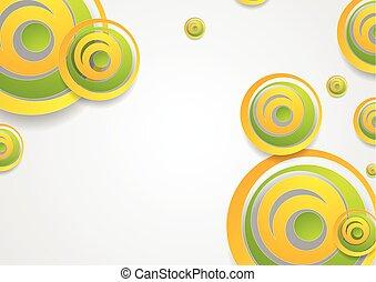 Vibrante verde y naranja círculos creativos abstractos