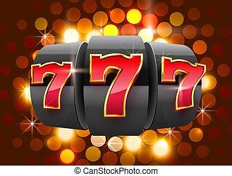 victoria, casino, concept., 777, grande, negro, máquina, gana, ranura, jackpot.