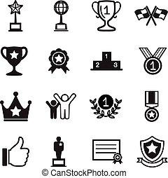 victoria, conjunto, éxito, iconos