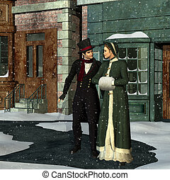 victoriano, pareja, invierno