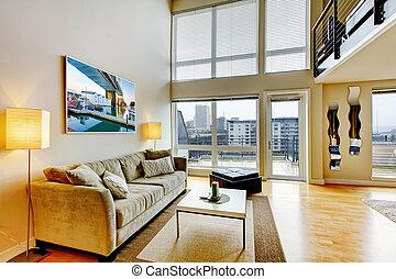 vida, apartamento, habitación, moderno, interior., desván