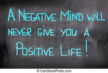 vida, concepto, elasticidad, positivo, nunca, mente, negativo, voluntad, usted