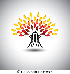 vida, concepto, feliz, feliz, eco, gente, -, árboles, vector.