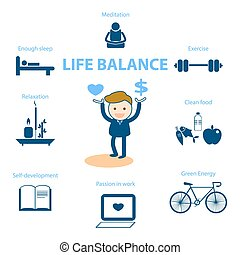 vida, concepto, ser, bien, ilustración, balance