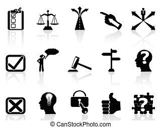 vida, conjunto, decisiones, iconos