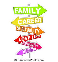 vida, cosas, -, priorities, importante, flecha, señales, balance