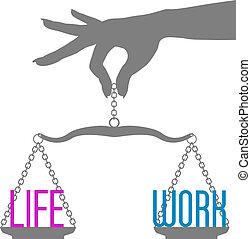 vida, escalas, trabajo, mano, persona, balance