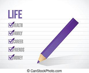 vida, lista, ilustración, marca, diseño, cheque
