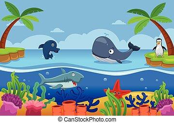 Vida marina en el océano