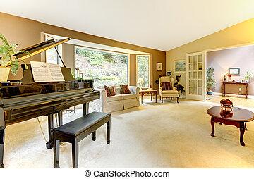 vida, piano, habitación, magnífico
