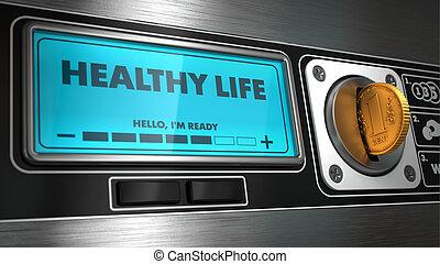 Vida saludable en exhibición de máquina expendedora.