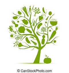 Vida sana. Árbol verde con verduras para tu diseño