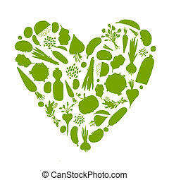 Vida sana - forma de corazón con verduras para su diseño