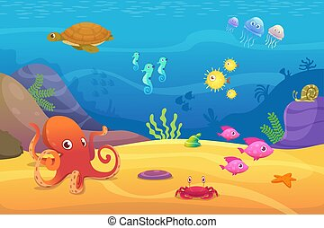 Vida submarina. Acuario dibujos animados de peces océano y animales marinos vector de fondo