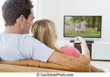 vida, televisión, pareja, habitación, mirar