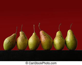 vida, todavía, seis, peras