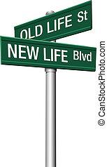 vida, viejo, placas con los nombres de las calles, nuevo, o, cambio