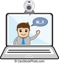 Video chateando - caricaturas de negocios
