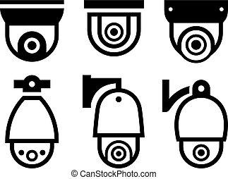 Video de vigilancia nuevos símbolos negros de vector