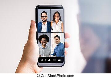 videochat, entrenamiento, llamada, empresa / negocio
