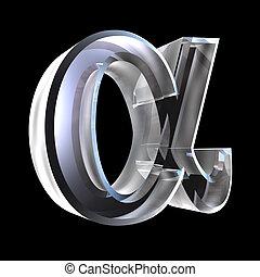vidrio, alfa, símbolo, (3d)