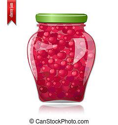 vidrio, cerezas, tarro, preservado