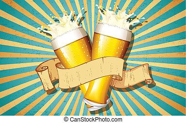 vidrio, cerveza, retro, plano de fondo