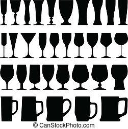 vidrio, cerveza, vino, taza