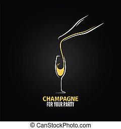 vidrio, champaña, diseño, botella, plano de fondo