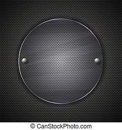 Vidrio circundante en fondo de metal. Ilustración del vector
