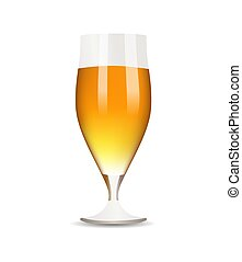 Vidrio con cerveza en fondo blanco