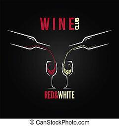vidrio, concepto, botella de vino, menú
