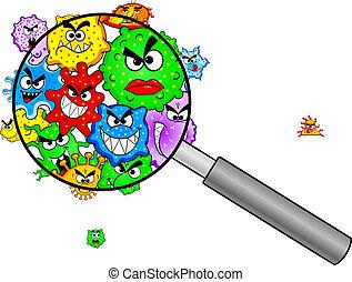 vidrio, debajo, aumentar, bacterias