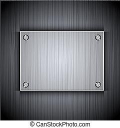 Vidrio en una placa de metal